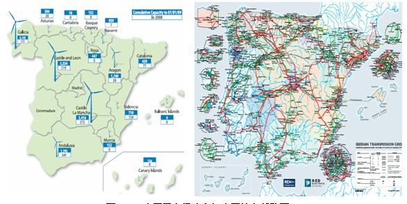 西班牙风电场分布与高压输电线路图
